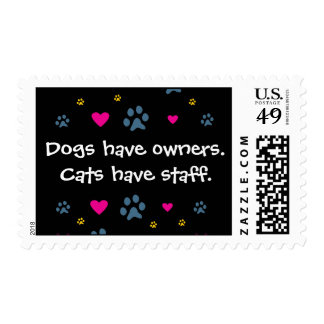 Dogs Have Owners-Cats Have Staff Postage Stamps