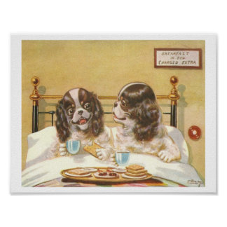 Dogs Having Breakfast in Bed Poster