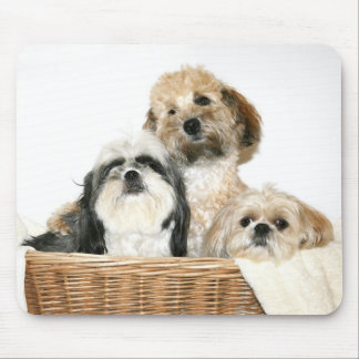 Dogs in a basket mouse pad