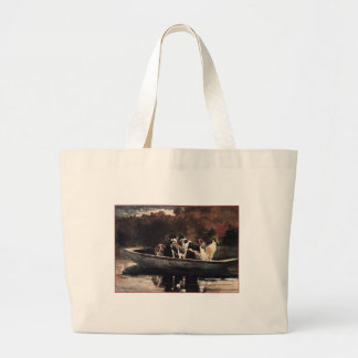 Dogs in a Boat  by Winslow Homer Canvas Bag
