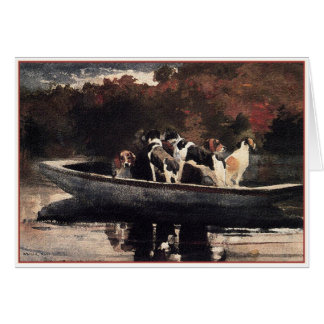Dogs in a Boat  by Winslow Homer Card