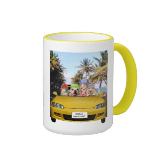 Dogs in a Convertible Ringer Mug