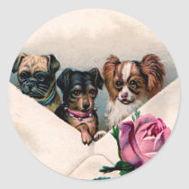 Dogs in an Envelope Classic Round Sticker