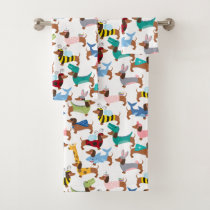 Dogs In Disguise Halloween Costume Dachshunds  Bath Towel Set