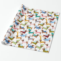 Dogs In Disguise Halloween Costume Dachshunds  Wrapping Paper