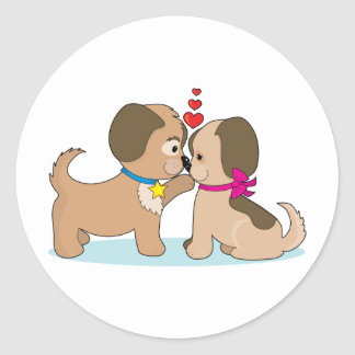 Dogs In Love Round Stickers