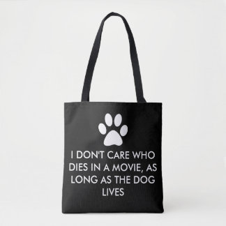Dogs in Movies with White Paw Print Tote Bag