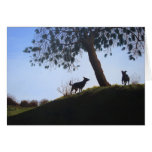Dogs in park landscape painting realist art greeting card