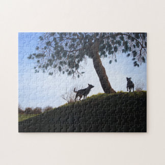 Dogs in park snow landscape painting realist art jigsaw puzzles