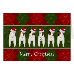 Dogs in Santa hats Jack Russell Terrier red green argyle Christmas card