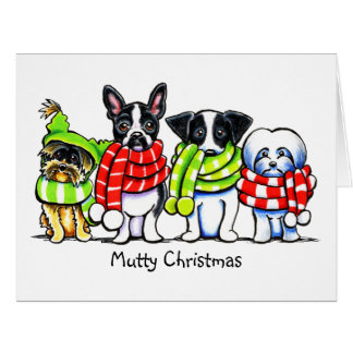 Dogs in Scarves Funny Mutts Christmas Custom Cards