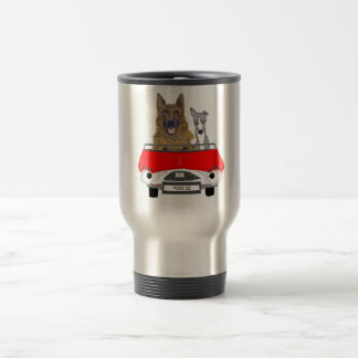 Dogs in the driving seat. 15 oz stainless steel travel mug