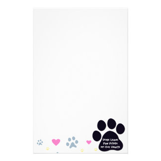 Dogs Leave Paw Prints on Our Hearts Personalized Stationery