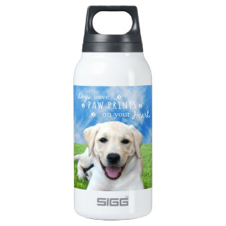 Dogs leave paw prints on your heart insulated water bottle