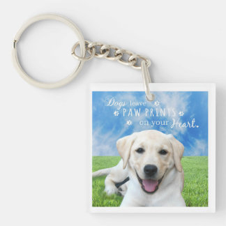 Dogs leave paw prints on your heart keychain