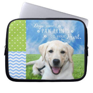 Dogs leave paw prints on your heart laptop sleeve