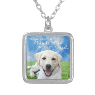 Dogs leave paw prints on your heart square pendant necklace
