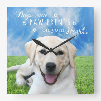 Dogs leave paw prints on your heart square wall clock
