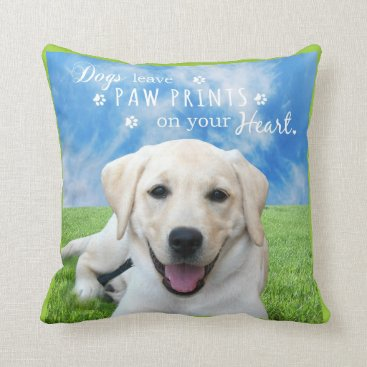 Valentines Themed Dogs leave paw prints on your heart throw pillow