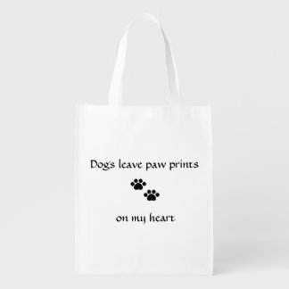 Dogs Leave Paw Prints Reusable Grocery Bag