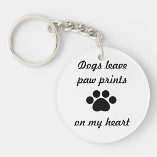 Dogs Leave Paw Prints Single-Sided Round Acrylic Keychain
