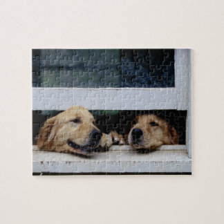 Dogs Looking Out a Window Jigsaw Puzzle