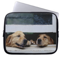Dogs Looking Out a Window Laptop Sleeve