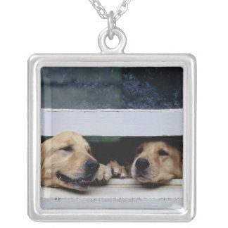 Dogs Looking Out a Window Square Pendant Necklace