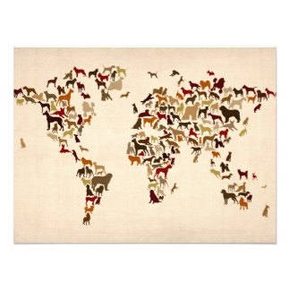 Dogs Map of the World Map Photo Print