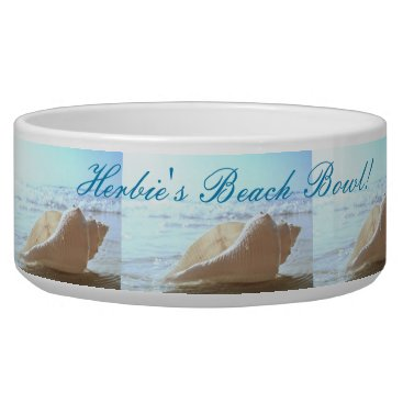 "Beach Themed ""dogs name"" Beach Bowl - SHELL AT THE OCEAN DESIGN"