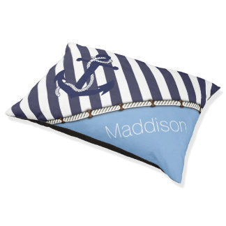 Dogs Name Nautical Anchor Chic Stripes Pattern Dog Bed
