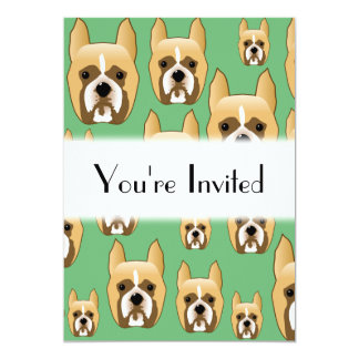 Dogs on Green. Boxers. Card
