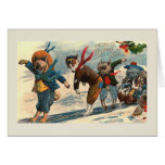 """""""Dogs on Ice"""" Vintage Christmas Card"""