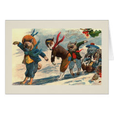 """Dogs on Ice"" Vintage Christmas Card at Zazzle"