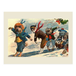 """Dogs on Ice"" Vintage Christmas Postcard"