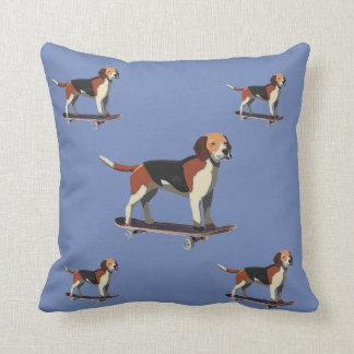 Dogs on Skateboards, Denim Pillow