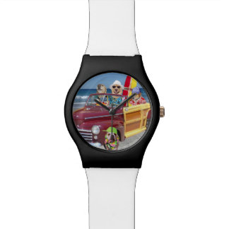 Dogs on the Beach in a Woodie Wrist Watch
