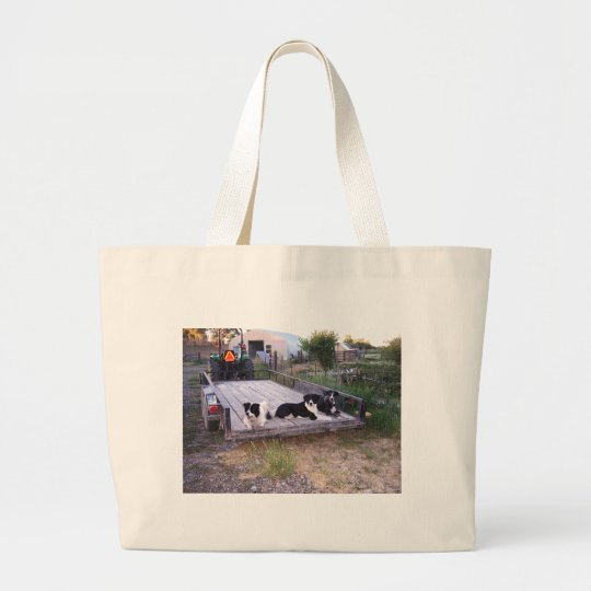 Dogs On Truck Bed Large Tote Bag