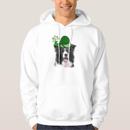 Dogs~Original Ditzy Hoodie~Border Collie~St. Pat Jersey Encapuchado