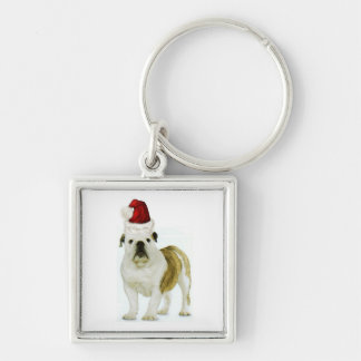 Dogs~Original Ditzy Keychain~Bulldog~Christmas Llavero Cuadrado Plateado