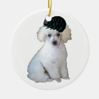 Dogs~Original Ditzy Ornament~Poodle Adorno Navideño Redondo De Cerámica