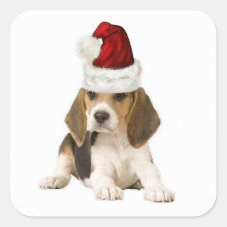 Dogs~Original Ditzy Sticker~Beagle~Christmas Calcomania Cuadradas Personalizadas