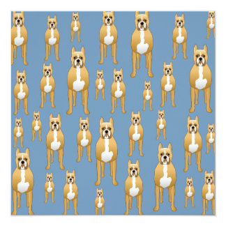 Dogs Pattern, Boxers on Blue. Card