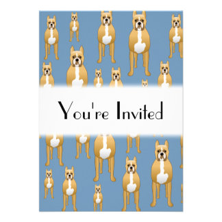 Dogs Pattern, Boxers on Blue. Personalized Invites