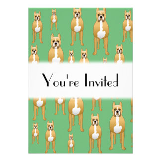 Dogs Pattern, Boxers on Green. Invitations