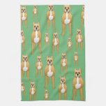 Dogs Pattern, Boxers on Green. Kitchen Towels