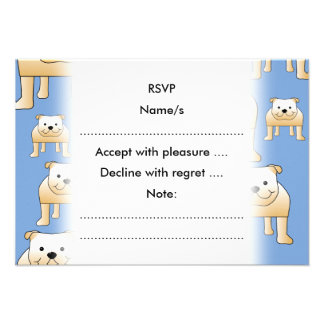 Dogs Pattern Fawn Bulldogs on Blue Invite