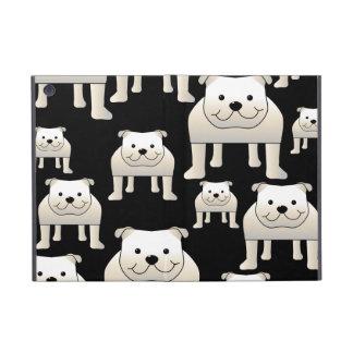 Dogs Pattern. White Bulldogs on Black. iPad Mini Cases