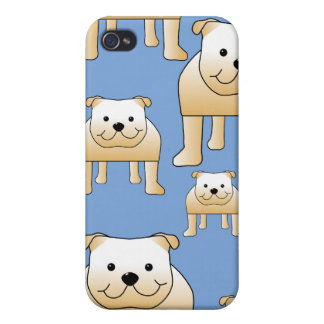 Dogs Pern. Fawn Bulldogs on Blue. iPhone 4/4S Cases
