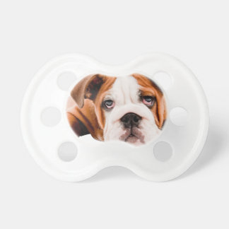 DOGS, PETS BULLDOG CUTE ADORABLE DIGITAL REALISM P BABY PACIFIERS